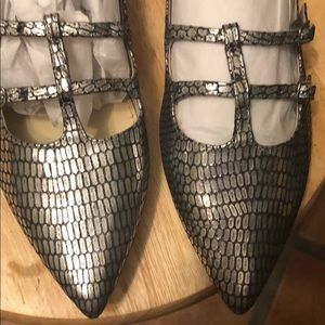 Marc Fisher Shoes - Marc Fisher Caged Pointy Flats Silver Reptile 9